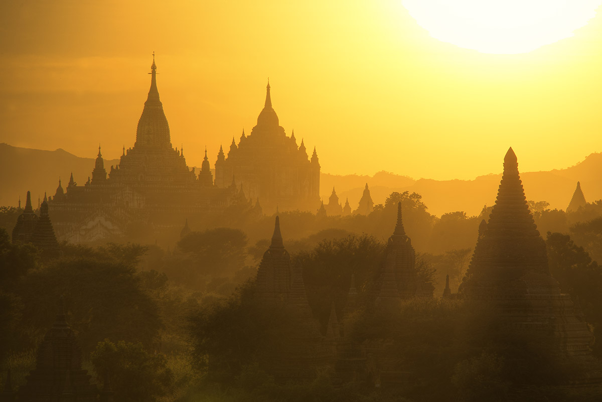 Bagan Sunset Silhouettes